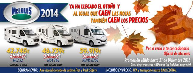 Ofertas Autocaravanas mclouis Otoño 2013